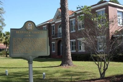 Brantley County Marker and Courthouse image. Click for full size.