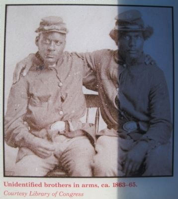 Unidentified brothers in arms, ca. 1863-1865. image. Click for full size.
