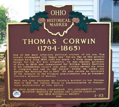 Thomas Corwin Marker Photo, Click for full size