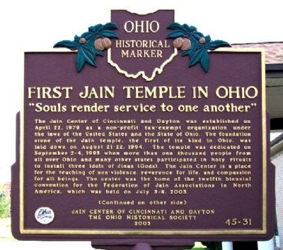 First Jain Temple in Ohio Marker (Side A) image. Click for full size.
