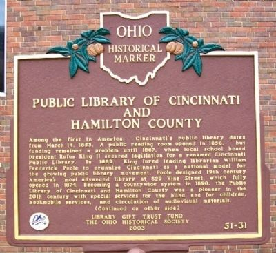 Public Library of Cincinnati and Hamilton County Marker (Side A) image. Click for full size.