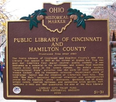 Public Library of Cincinnati and Hamilton County Marker (Side B) image. Click for full size.
