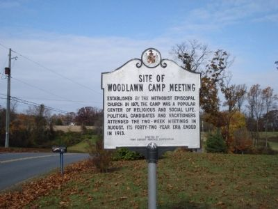Site of Woodlawn Camp Meeting Marker image. Click for full size.