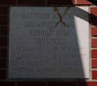 St. Matthew United Methodist Church Cornerstone image. Click for full size.