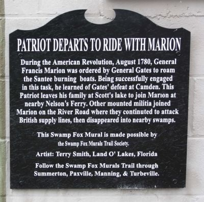 Patriot Departs to Ride with Marion Marker image. Click for full size.