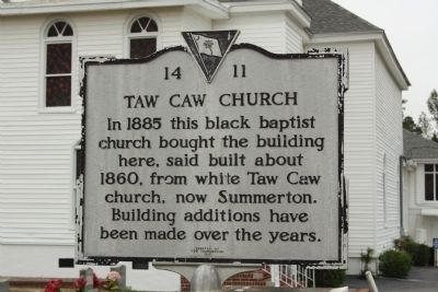 Taw Caw Church Marker image. Click for full size.