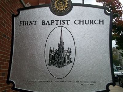 First Baptist Church Marker - reverse side image. Click for full size.
