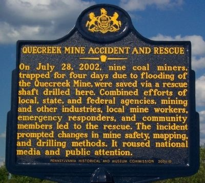 Quecreek Mine Accident and Rescue Marker image. Click for full size.