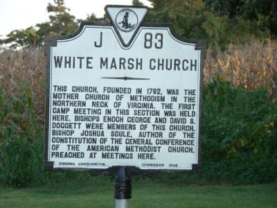 White Marsh Church Marker Photo, Click for full size