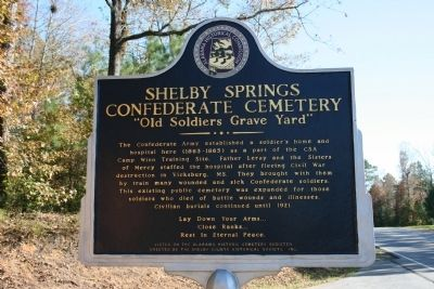 Shelby Springs Confederate Cemetery Marker Photo, Click for full size