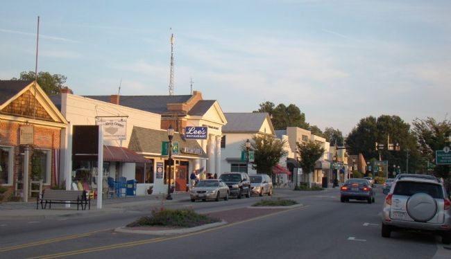 Sunset on South Main Street (Eastbound Route 3), Kilmarnock, Virginia image. Click for full size.