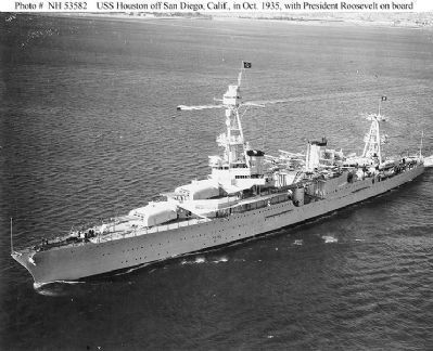 Heavy cruiser U.S.S. Houston - off San Diego, California, 1935 Photo, Click for full size