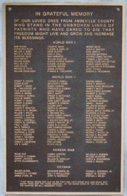 Abbeville County Veterans Memorial image. Click for full size.