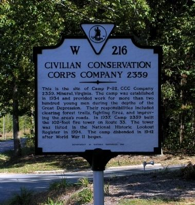 Civilian Conservation Corps Company 2359 Marker image. Click for full size.