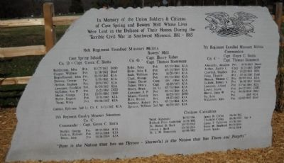 Cave Springs' Cemetery Civil War Memorial Marker Photo, Click for full size