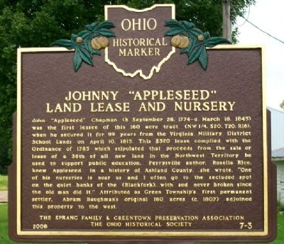 "Johnny ""Appleseed"" Land Lease and Nursery Marker image. Click for full size."