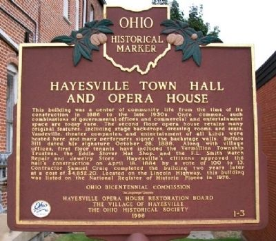 Hayesville Town Hall and Opera House Marker image. Click for full size.