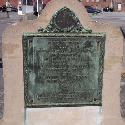 The General Assembly of Virginia Marker (original location) image. Click for full size.