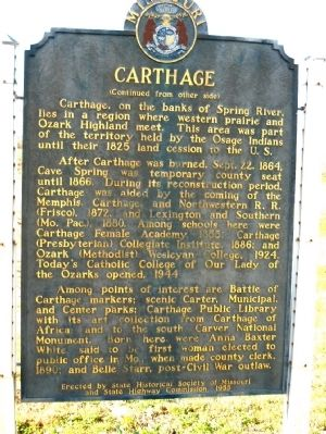 Reverse of Carthage Marker image. Click for full size.