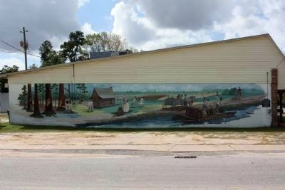 Puddin' Swamp 1776 – The Frontier Marker (far right) and Mural, on old Griffin Drug Store image. Click for full size.