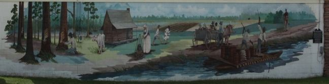 Puddin' Swamp 1776 – The Frontier Mural, Artists: Dayton & Sandy Wodrich, Brenham, Texas. image. Click for full size.