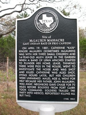 Site of McLaurin Massacre (Last Indian Rain in Frio Canyon) Marker image. Click for full size.