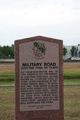 Military Road - Choctaw Trail of Tears Marker image. Click for full size.