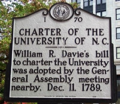 Charter of the University of N. C. Marker image. Click for full size.