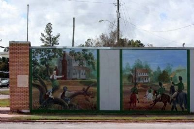 "The Burning of Mouzon's Home by his ""Friend"" Marker (left) and Mural from the Swamp Fox Murals Trail image. Click for full size."