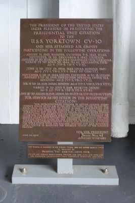 Presidential Unit Citation to the U.S.S. Yorktown CV-10 image. Click for full size.
