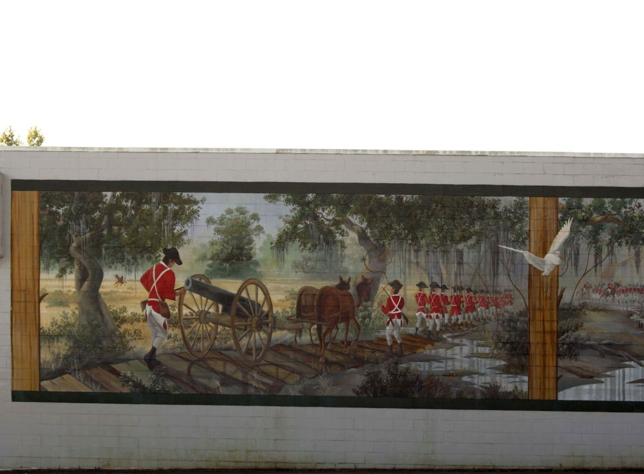 Battle of Wyboo Swamp Mural left panel