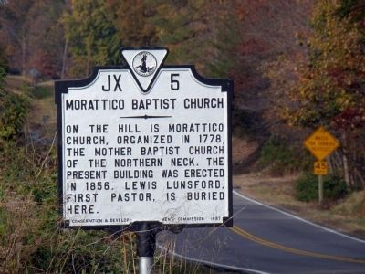 Morattico Baptist Church Marker image. Click for full size.
