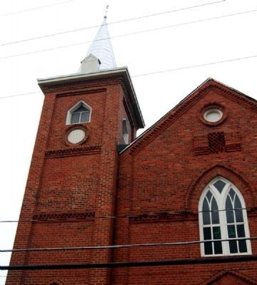 St. James African Methodist Episcopal Church -<br>Steeple Detail image. Click for full size.
