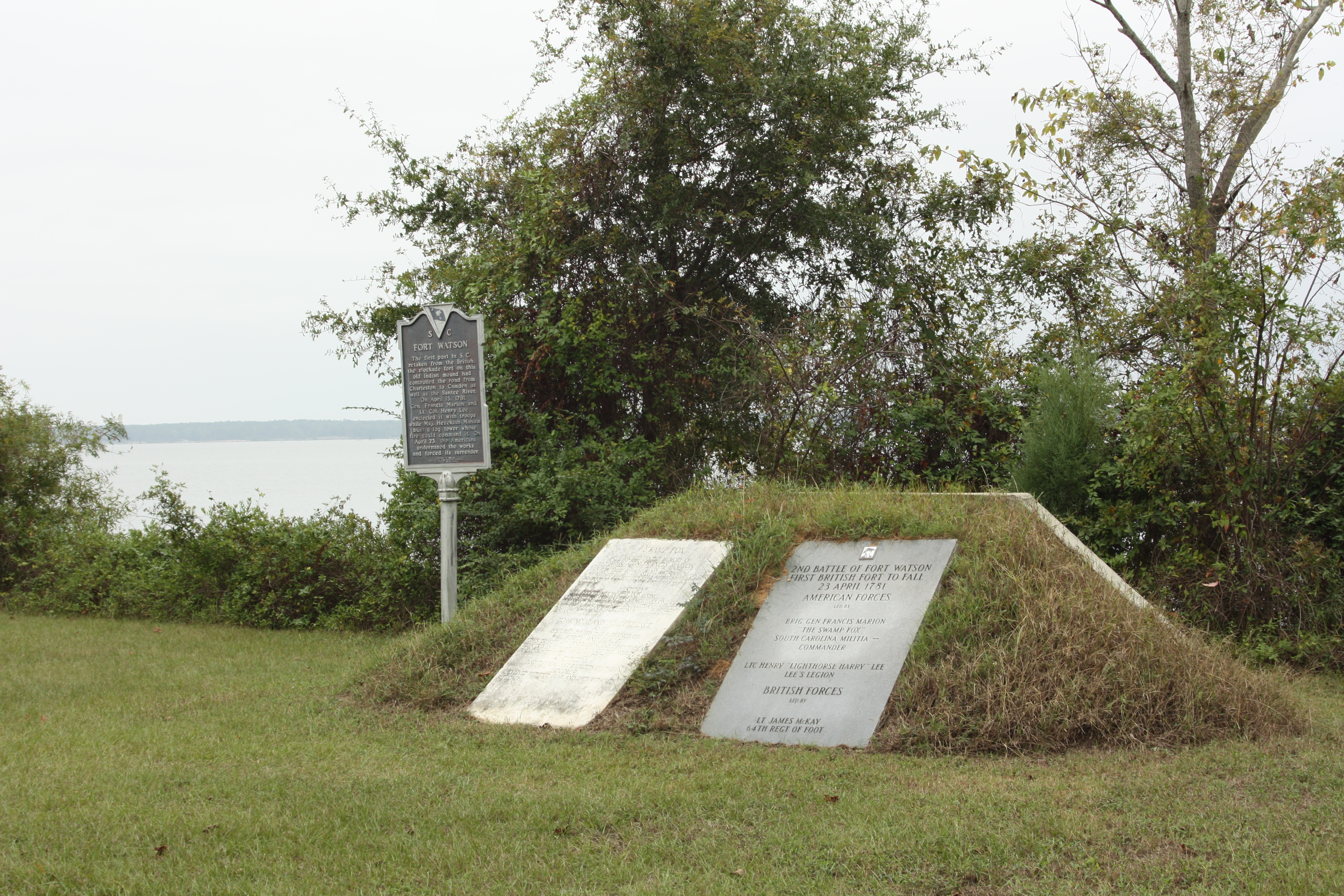 Swamp Fox Marker (center) along with Fort Watson markers