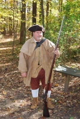Reenactor with musket and bayonet image. Click for full size.