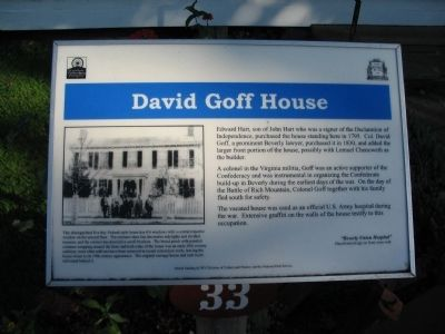 David Goff House Marker Photo, Click for full size