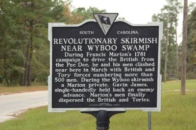 Revolutionary Skirmish Near Wyboo Swamp Marker image. Click for full size.