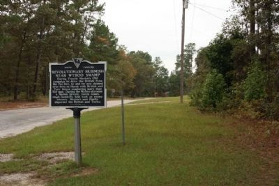 Revolutionary Skirmish Near Wyboo Swamp Marker, looking west along State Road 14-410 image. Click for full size.