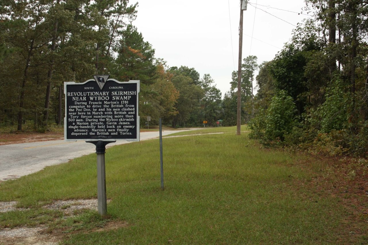 Revolutionary Skirmish Near Wyboo Swamp Marker, looking west along State Road 14-410
