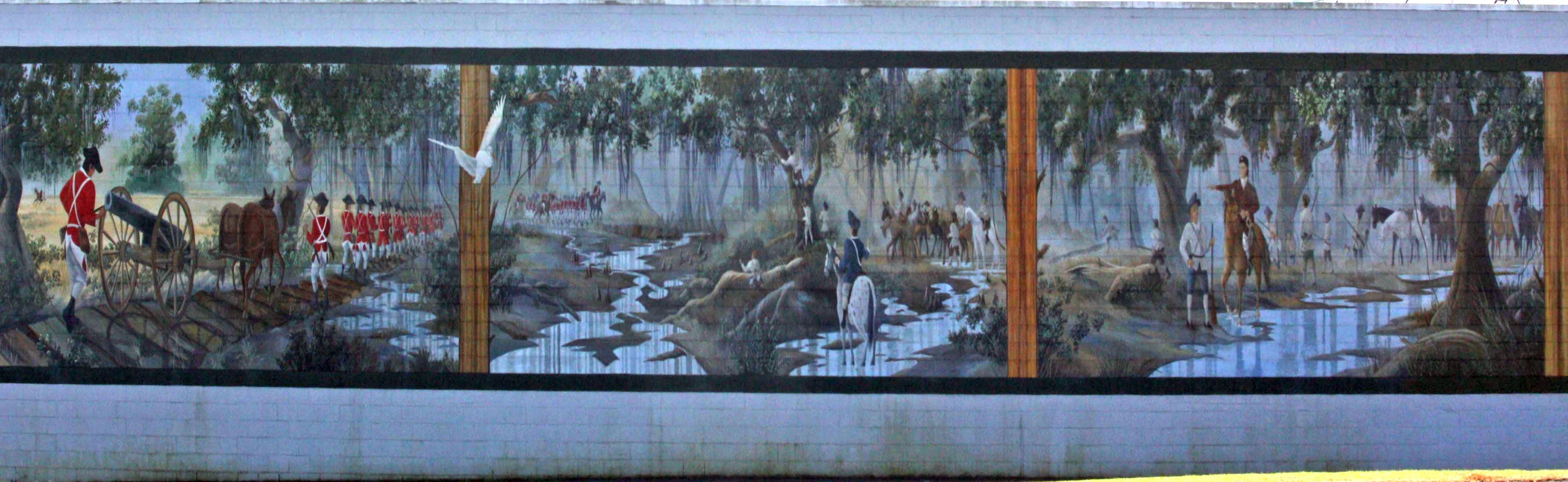 Revolutionary Skirmish Near Wyboo Swamp Mural at the IGA in Manning
