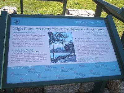 High Point: An Early Haven for Sightseers & Sportsmen Marker image. Click for full size.