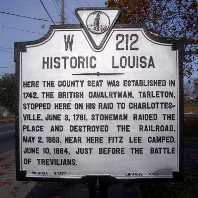 Historic Louisa Marker image. Click for full size.
