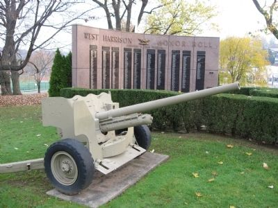 West Harrison Honor Roll and 37mm Gun image. Click for full size.