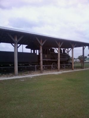 Baldwin Locomotive near the Seminole Indian Battle Marker image. Click for full size.