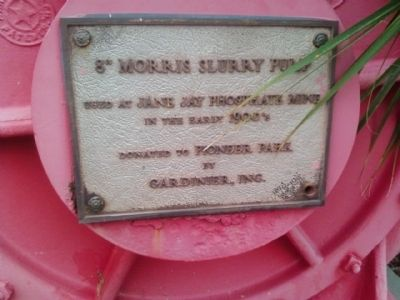 "Dedication plaque on the 8"" Morris Slurry Pump image. Click for full size."