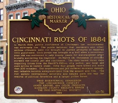 Cincinnati Riots of 1884 Marker (Side A) image. Click for full size.