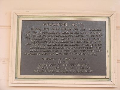 The Pleasanton Hotel Marker image. Click for full size.