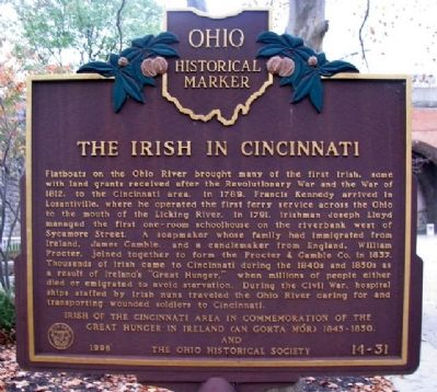 The Irish in Cincinnati Marker (Side A) image. Click for full size.