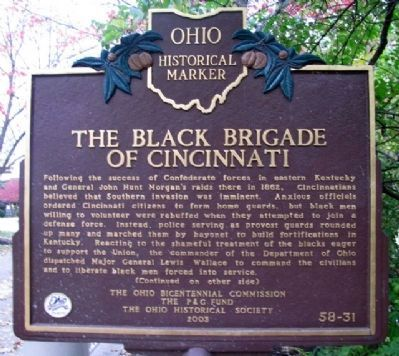 The Black Brigade of Cincinnati Marker (Side A) image. Click for full size.