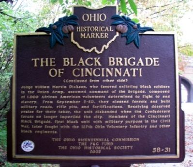 The Black Brigade of Cincinnati Marker (Side B) image. Click for full size.